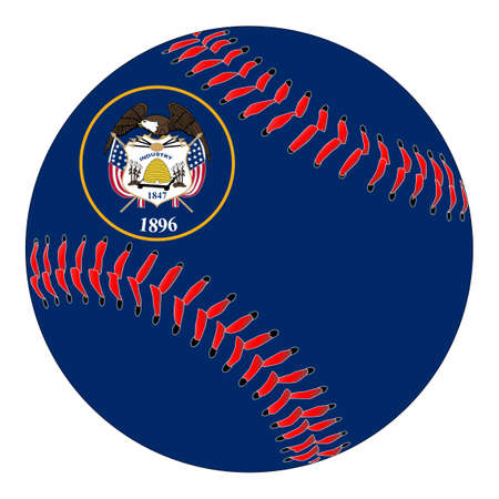 A new white baseball with red stitching with the Utah state flag overlay isolated on white 向量圖像
