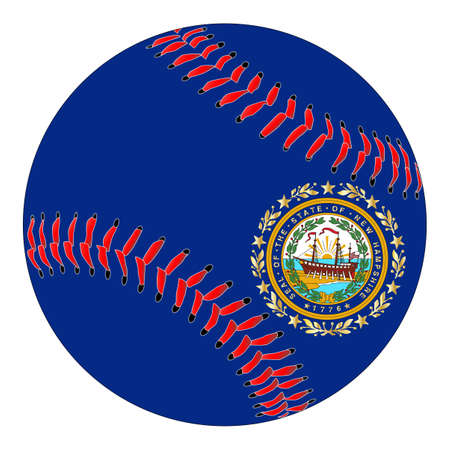 A new white baseball with red stitching with the New Hampshire state flag overlay isolated on white