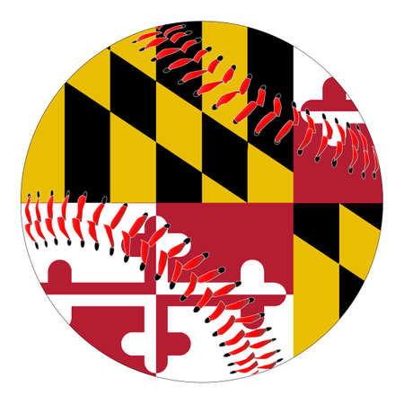 maryland flag: A new white baseball with red stitching with the Maryland state flag overlay isolated on white