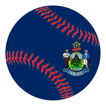 A new white baseball with red stitching with the Maine state flag overlay isolated on white Stock Illustratie