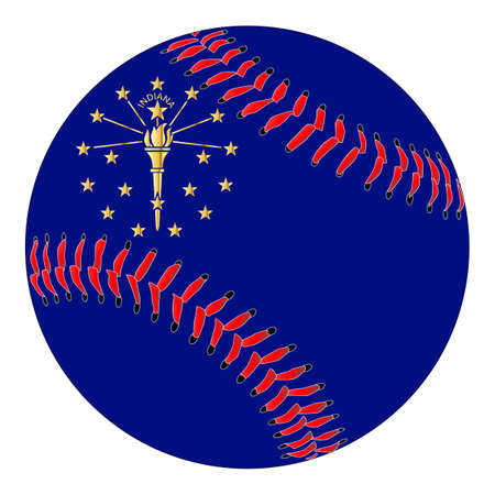 A new white baseball with red stitching with the Indiana state flag overlay isolated on white