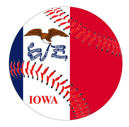 A new white baseball with red stitching with the Iowa state flag overlay isolated on white