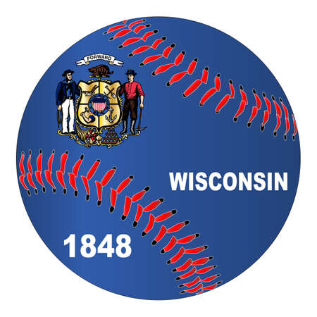A new white baseball with red stitching with the Wisconsin state flag overlay isolated on white Illustration