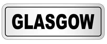 The city of Glasgow nameplate on a white background