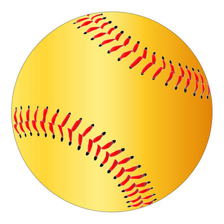 A yelow isolated softball with red stitching Çizim