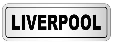 The city of Liverpool nameplate on a white background Stock Illustratie