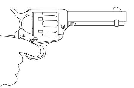An isolated hand with the finger pulling the trigger of a six gun. Illustration