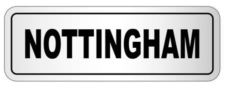 The city of Nottingham nameplate on a white background