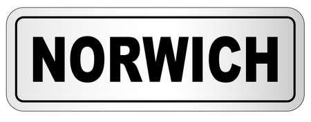 The city of Norwich nameplate on a white background