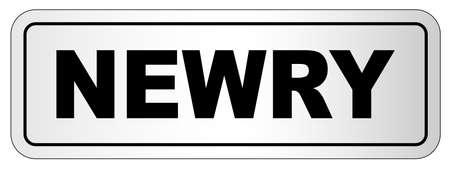 The city of Newry nameplate on a white background Ilustração