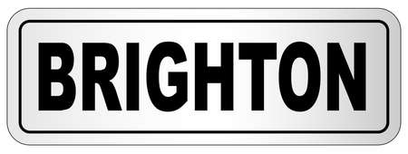 The city of Brighton nameplate on a white background Stock Illustratie