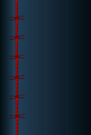 暗い背景に色あせたテッド有刺鉄線セクション