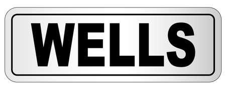 Wells nameplate on a white background Ilustração