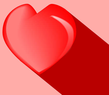 A red heart with darg red shadow on a red background