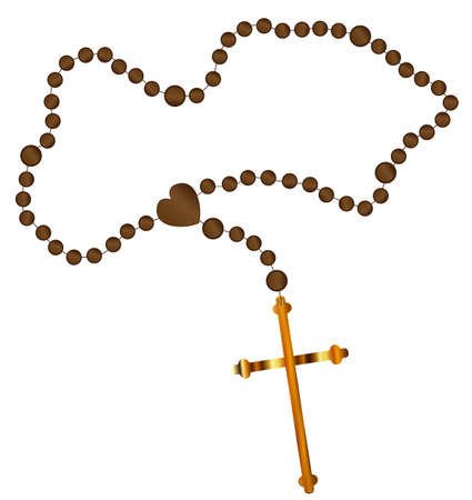 Catholic rosary beads with a golden cross all over a white background Ilustração