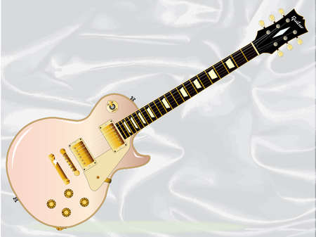 Rock and roll guitar in pink isolated over a white silk background.