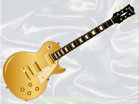 Guitarra del rock-and-roll en el oro aislado sobre un fondo de seda blanco. Foto de archivo - 90498662