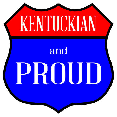 Route style traffic sign with the legend Kentuckian And Proud. Çizim