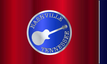 The state of Tennessee flag with shadow with electric guitar and Nashville text. Illustration
