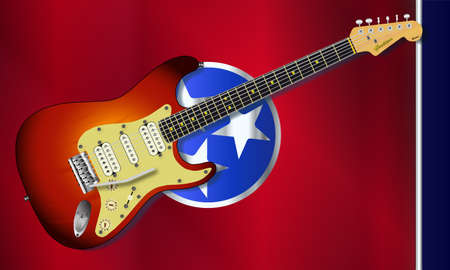 The state of Tennessee flag with shadow with electric guitar over. Vectores