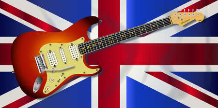 Typical Union Jack flag of the United Kingdom with a typical electric guitar over.