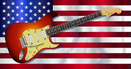 The Stars and Stripes flag with shadow waving with electric guitar over Illustration