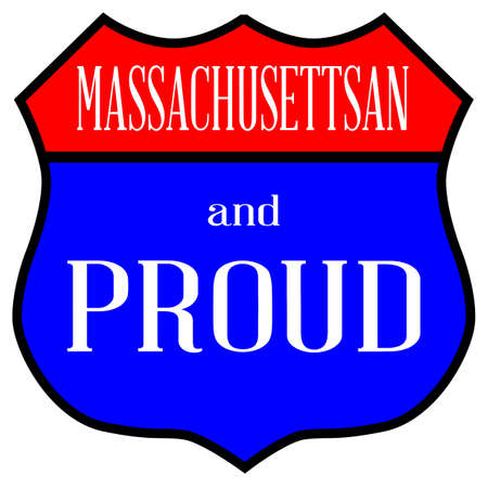 Route style traffic sign with the legend Massachusettsan And Proud text.