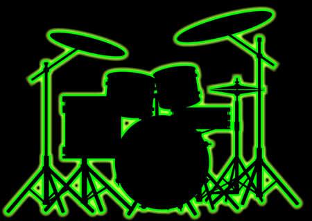 Silhouet van een rockbands drumstel in groene neongijl. Vector Illustratie