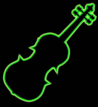 A neon violin outline in green isolated over a black background Illustration