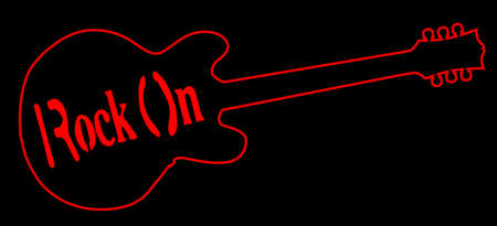 Red neon style guitar outline on black background with text.