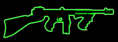 A green neon light outlineTommy gun as used by gangsters in the roaring twenties on a black background