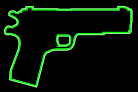A green neon 45 automatic hand gun isolated on a black background