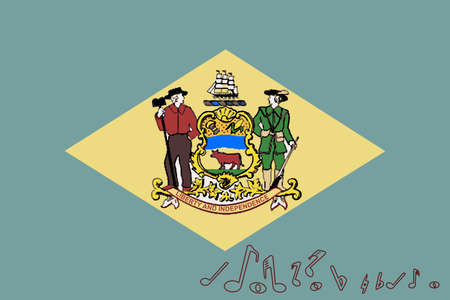 Flag of Delaware with musical notes.