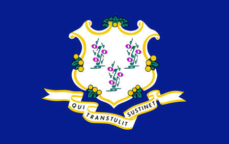 Flag of Connecticut with musical notes.