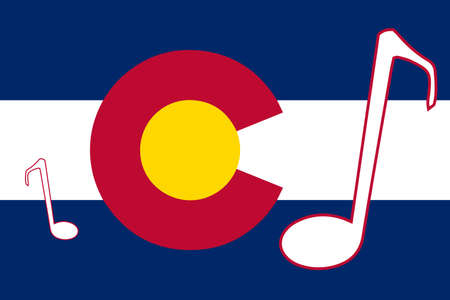 Flag of Colorado with musical notes. Illustration