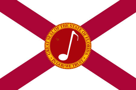 Flag of Florida, US state with musical note. Illustration