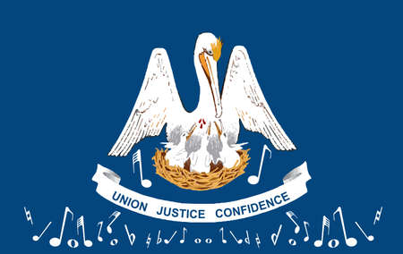 The U S State of Louisians flag with musical notes