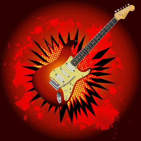 A comic cartoon style loud guitar explosion, vector illustration. Illustration