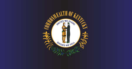 The State Flag of Kentucky on blue background, vector illustration.