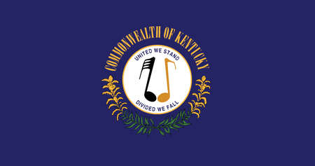 The State flag of Kentucky with musical notes, vector illustration. Illustration