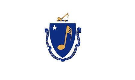 The flag of the US state of Massachusetts with musical notes.