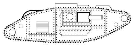 Military tank sketch. Illustration