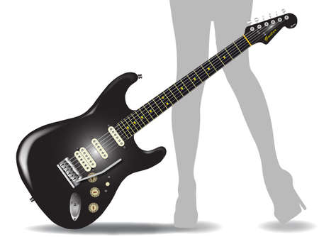 A definitive rock and roll guitar in black, isolated over a white background with a faded pair of female legs