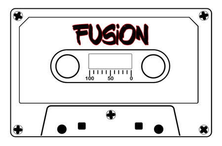 A typical old fashioned cassette in black line over a white illustration with text Fusion.