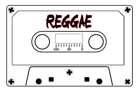 A typical old fashioned cassette in black line over a white illustration with text Reggae. Иллюстрация