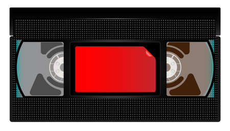 A typical old fashioned video cassette on black background. Illustration