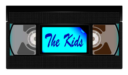 A typical old fashioned video cassette over a white background with the Kids text Иллюстрация