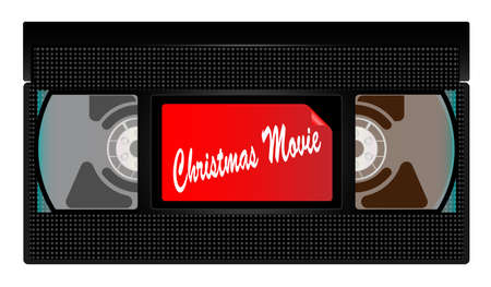 A typical old fashioned video cassette over a white background with Holiday 2017