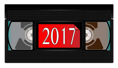 A typical old fashioned video cassette over a white background with 2017