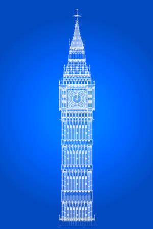 The London landmark Big Ben Clocktower as a blueprint